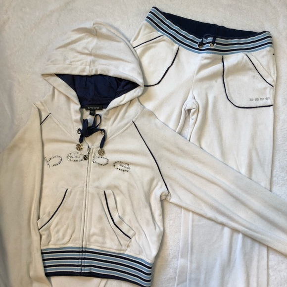 ceb5d43b923 bebe Other | Sweatsuit White And Blue | Poshmark